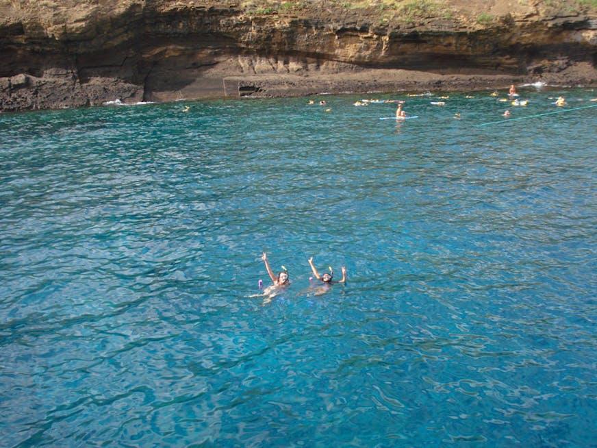 Aline e sua amiga Bel no Havaí.