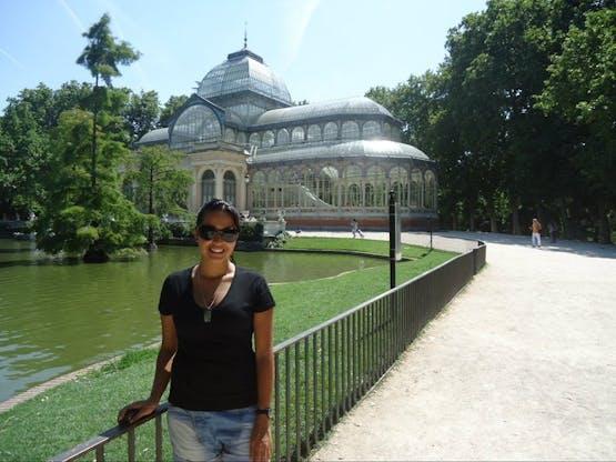 No palácio de cristal no Parque do Retiro