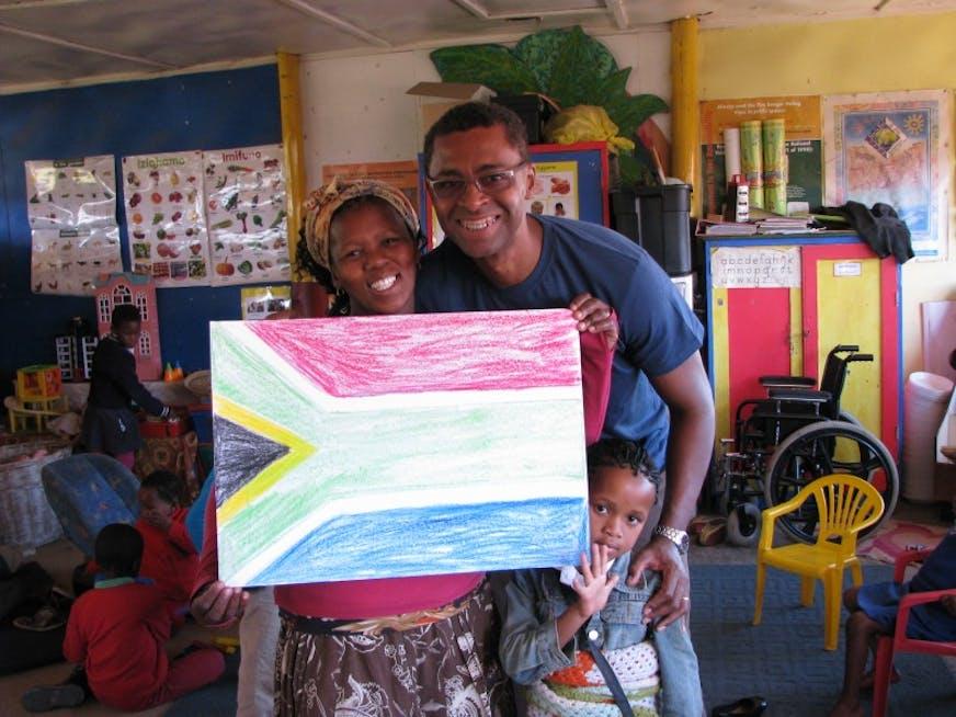 Phumla é a professora da pré-escola com a qual trabalhei. Um amor de pessoa!