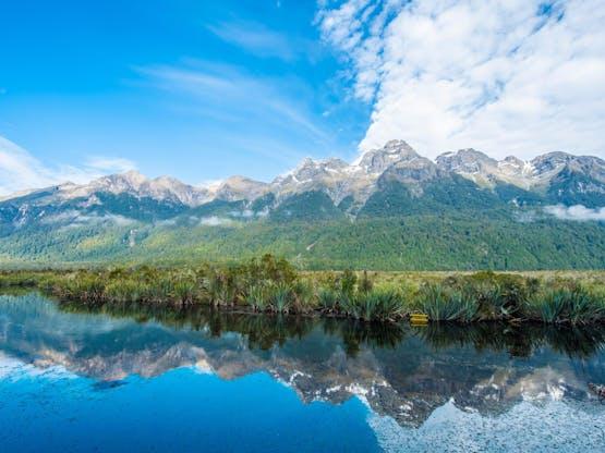 Mirror Lakes em Milford Road, Nova Zelândia