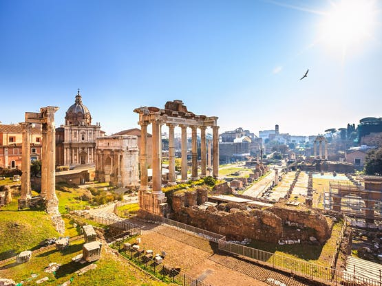 Ruínas do antigo Forum Romano. Roma, Itália