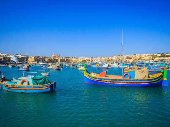 Povoado de Marsaxlokk. Valeta, Malta