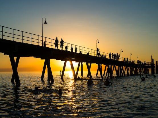 Glenelg Beach em Adelaide, Austrália