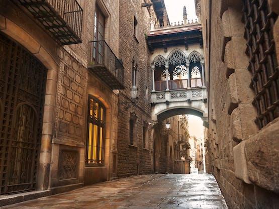 Carrer del Bisbe no bairro El Gòtic, Barcelona