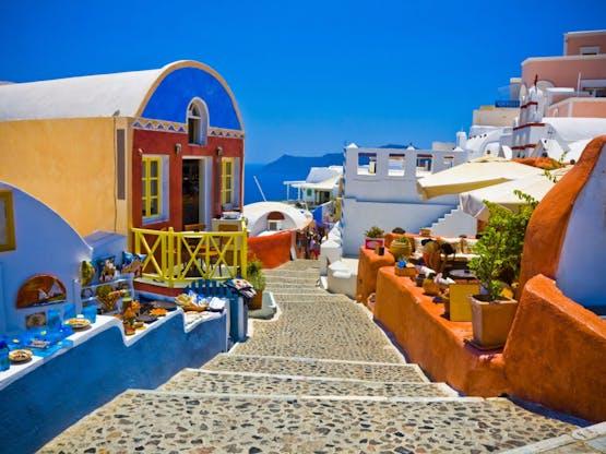 Rua de Oia. Santorini, Grécia